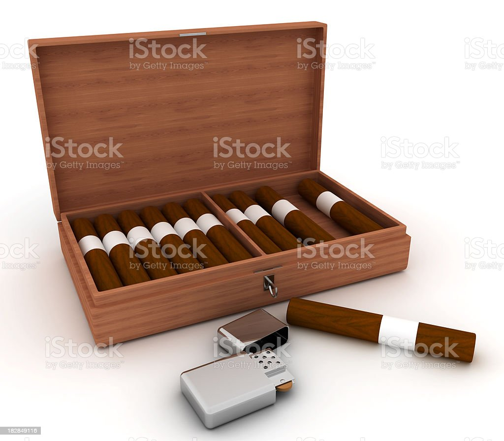 Open сigars and lighter stock photo