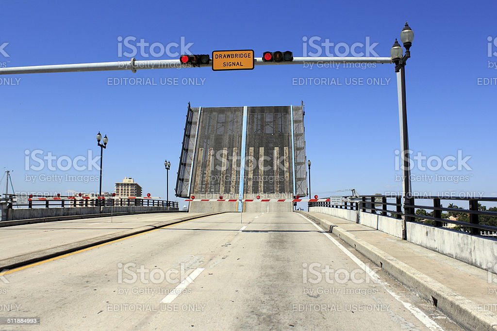 Open Intracoastal Drawbridge stock photo