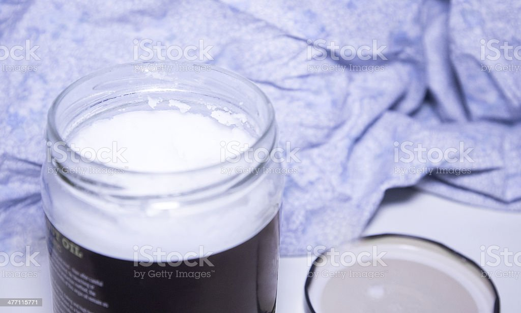 Open Jar Of Coconut Oil In Solid Form - Royalty-free Alternative Medicine Stock Photo