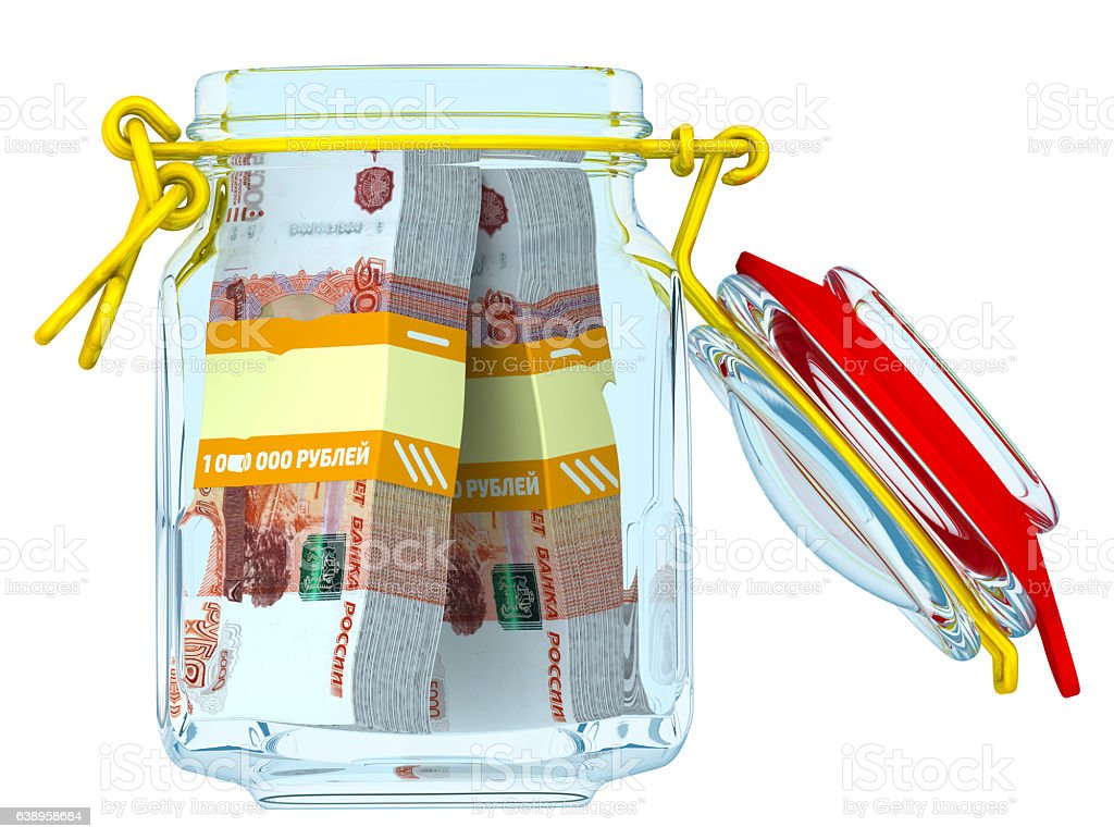 Open jar with bundles of 5,000 Russian rubles banknotes stock photo