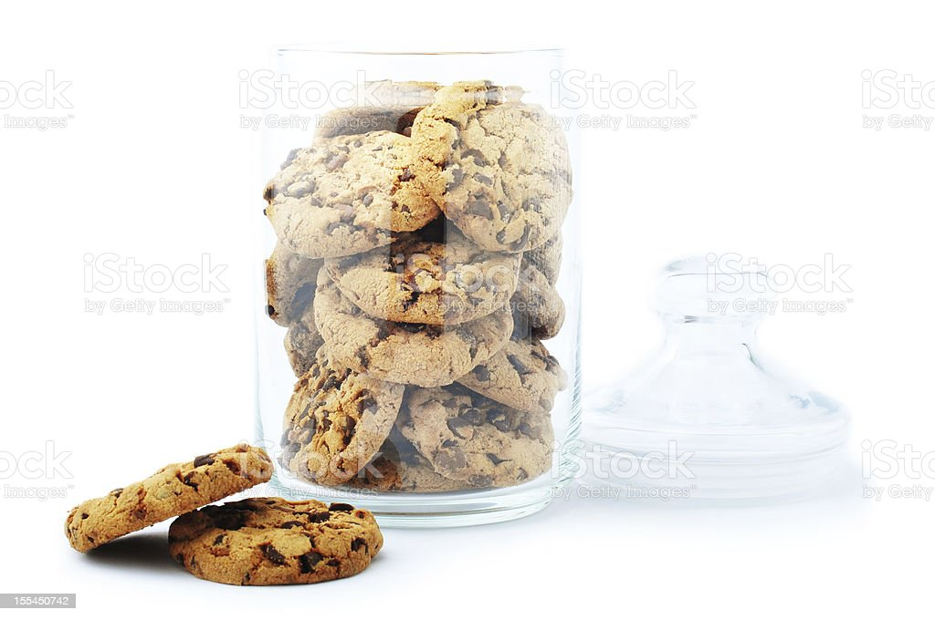 Open jar with cookie stock photo