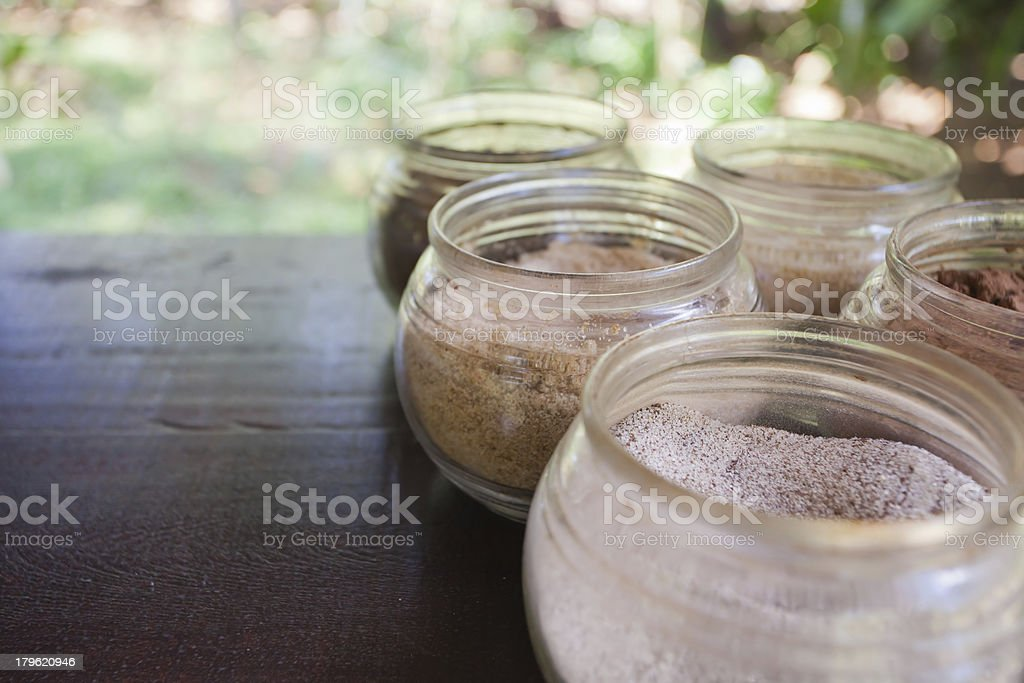 Open jars with spices royalty-free stock photo