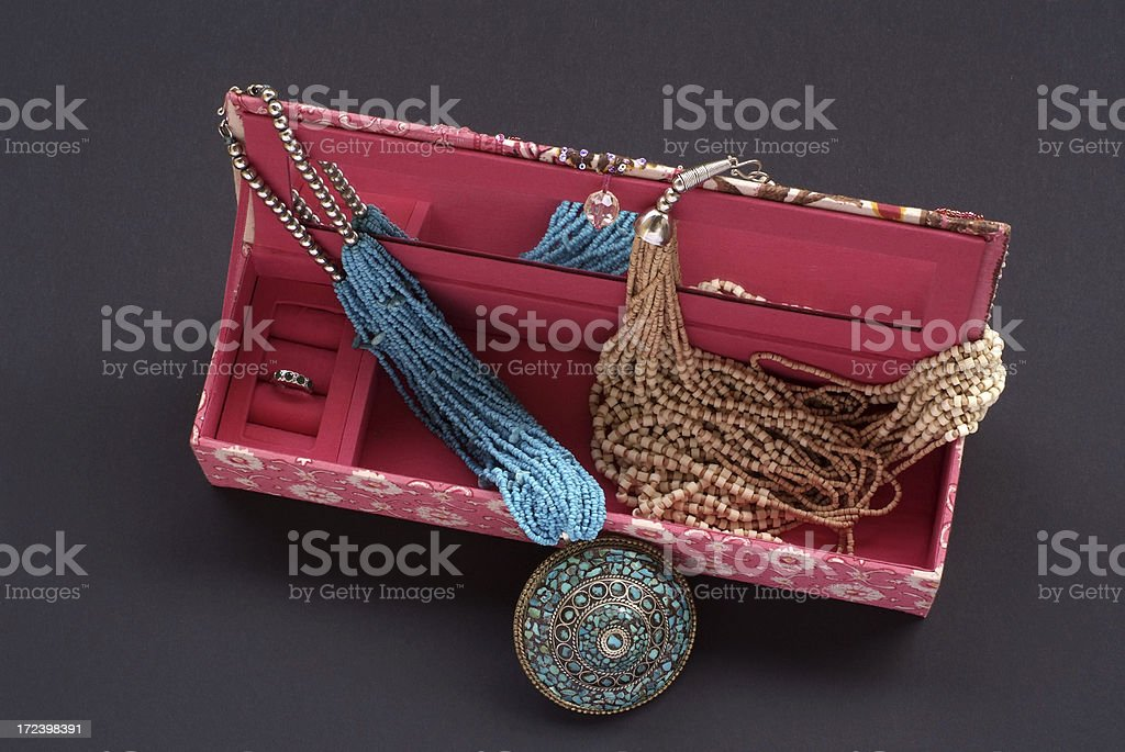 Open jewellery box with jewels royalty-free stock photo