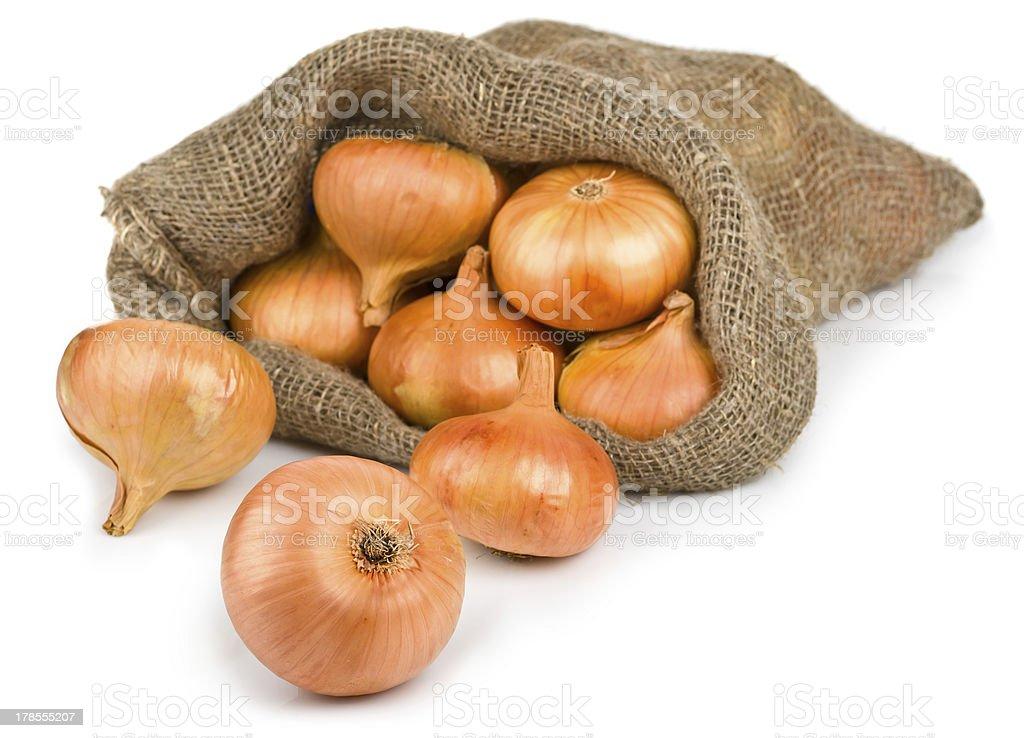 Open jute sack with ripe onions stock photo