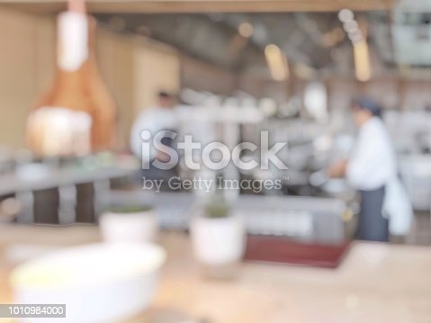 886308526istockphoto Open kitchen blur background in luxury hotel restaurant facility showing chef cooking over blurry food counter for buffet catering service 1010984000