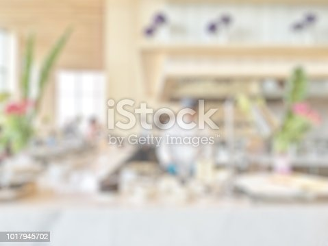 886308526istockphoto Open kitchen blur background in luxury hotel restaurant facility showing chef cooking over blurry food counter for buffet catering service 1017945702