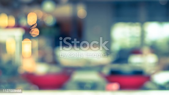 886308526istockphoto Open kitchen blur background in luxury hotel restaurant facility showing chef cooking over blurry food counter for buffet catering service 1127009468