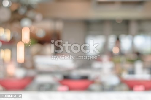 886308526istockphoto Open kitchen blur background in luxury hotel restaurant facility showing chef cooking over blurry food counter for buffet catering service 1130377219
