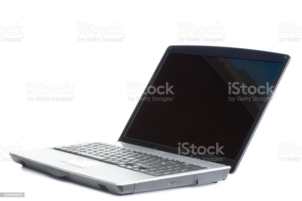Open laptop at an angle stock photo