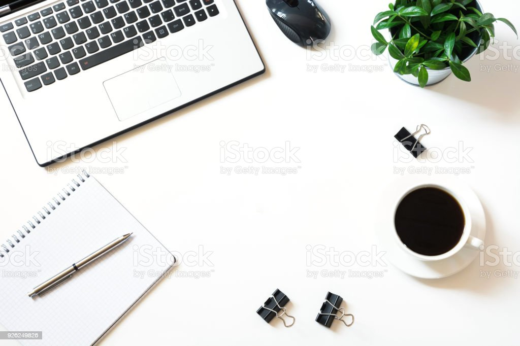 Beau Open Laptop On Office Desk Table Top View Copy Space Stock ...