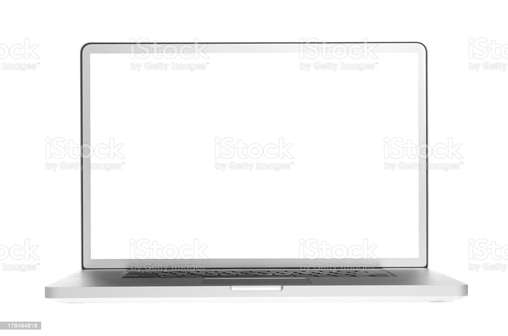 Open laptop showing a blank white screen stock photo