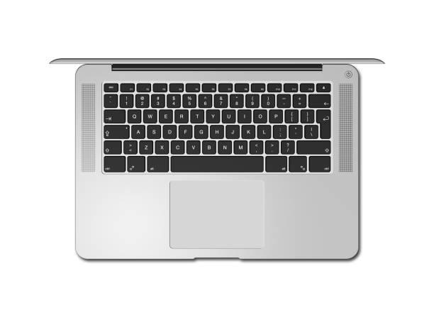 ouvrez la vue supérieure d'ordinateur portable isolée sur le blanc. rendu 3d - clavier d'ordinateur photos et images de collection