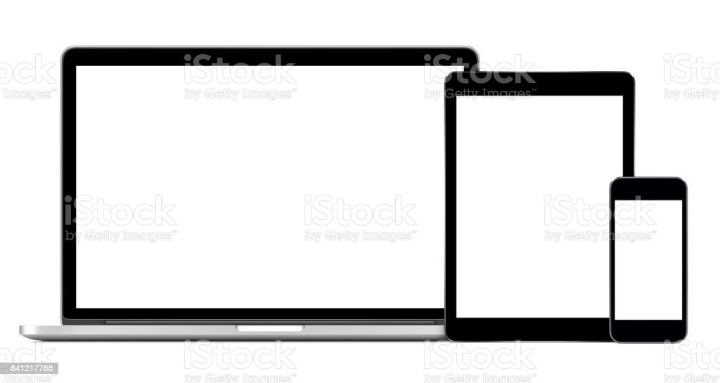 Open laptop with digital tablet and smartphone mockup stock photo