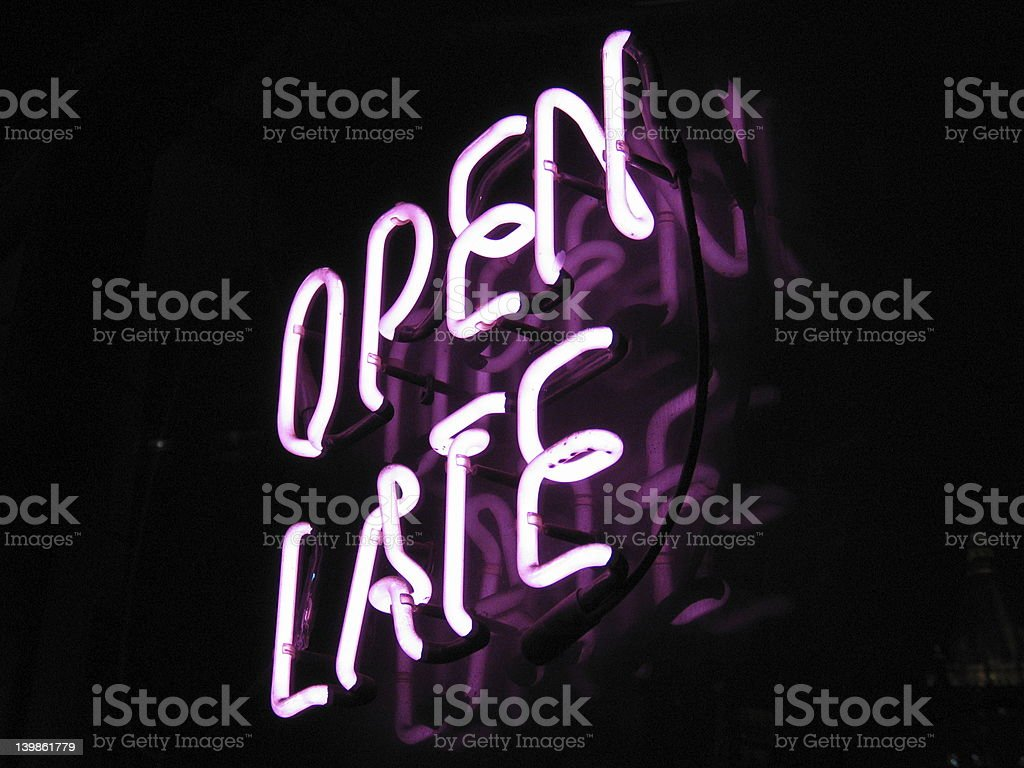 Open late neon sign stock photo