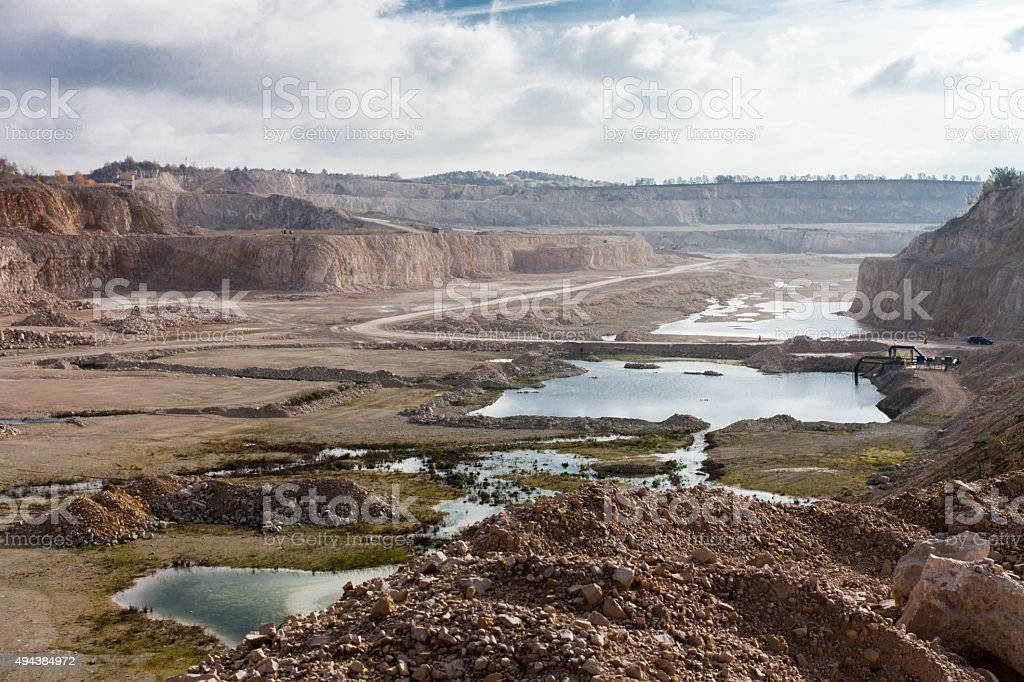 Open limestone mine stock photo