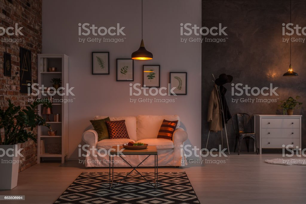 Open living room stock photo