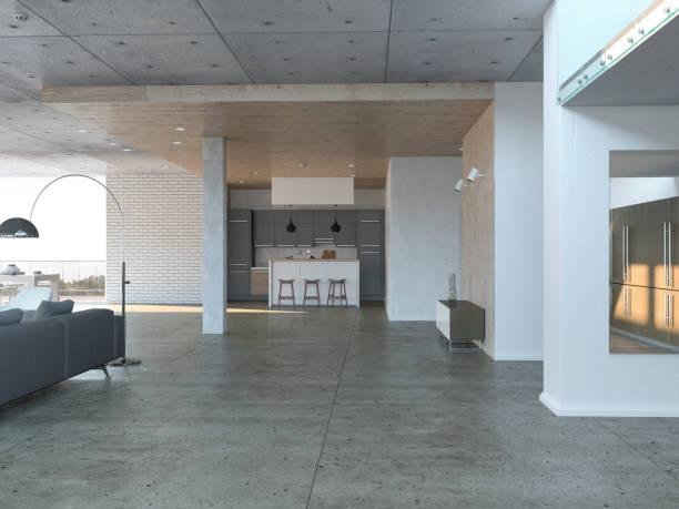 salle de séjour avec cuisine ouverte - étage photos et images de collection