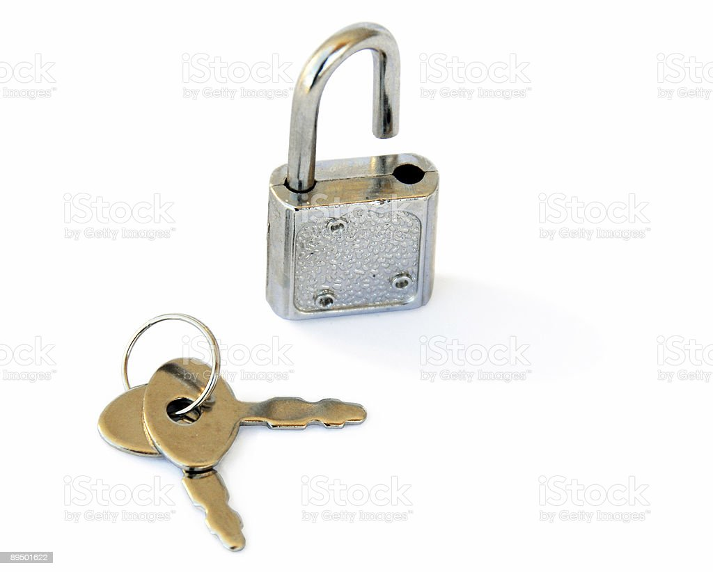 Open Lock and key royalty-free stock photo
