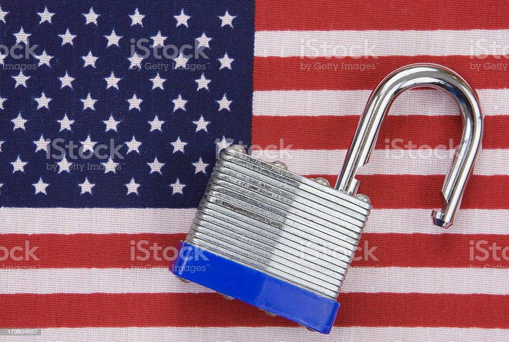 Open Lock on US Flag stock photo