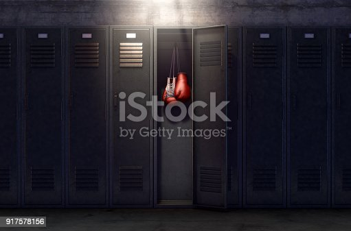istock Open Locker And Hung Up Boxing Gloves 917578156