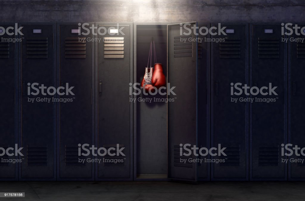 Open Locker And Hung Up Boxing Gloves stock photo