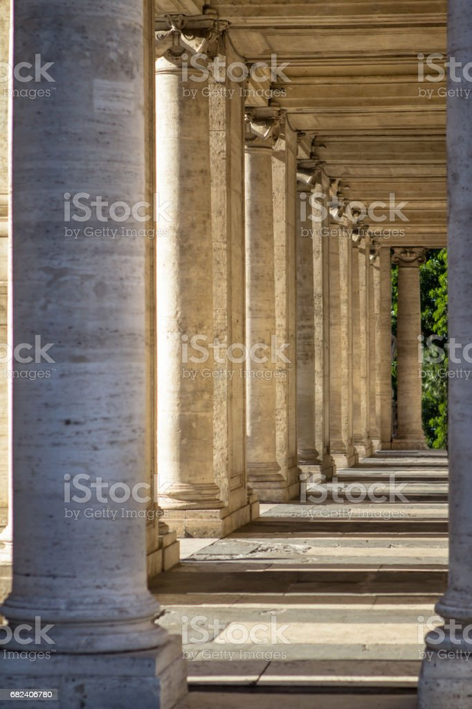 Open Loggia Palazzo Nuovo in Rome royalty-free stock photo