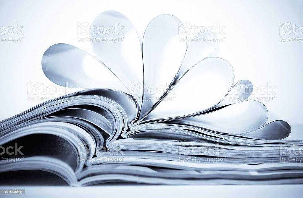 Open magazines stock photo