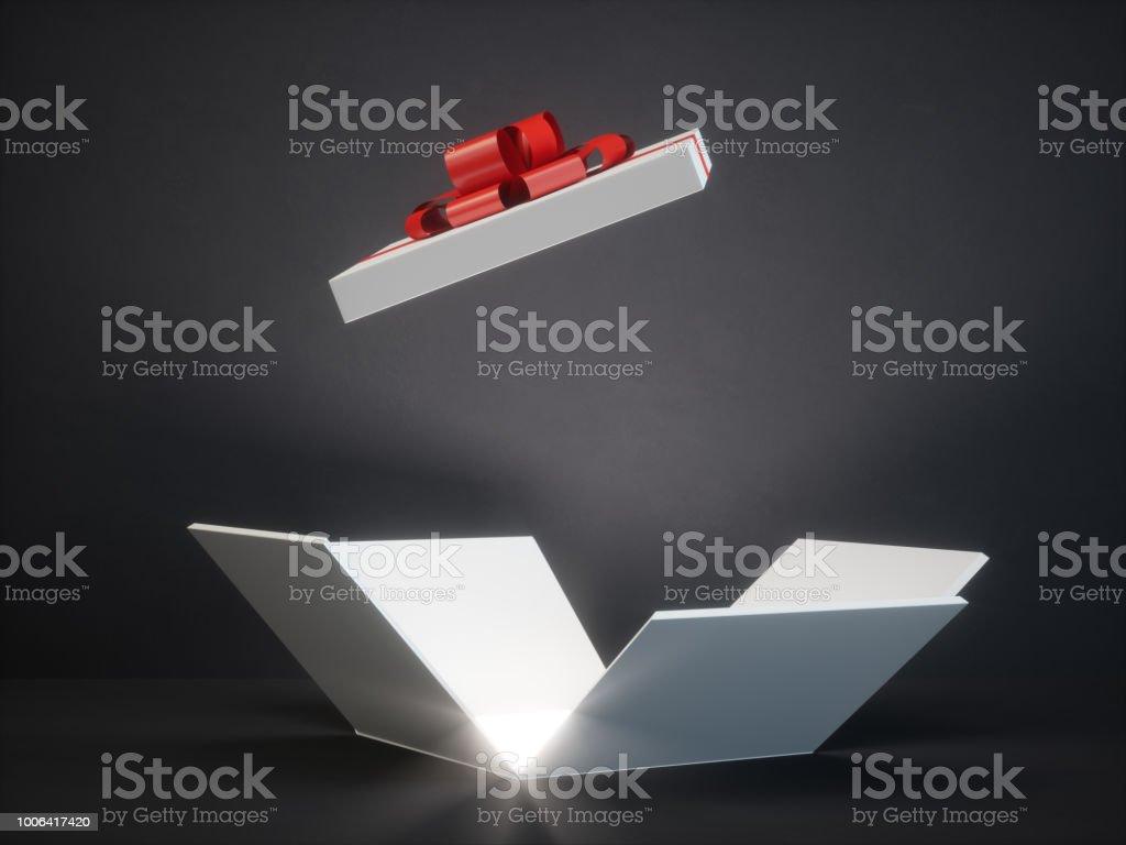 Open magic gift box with shine stock photo