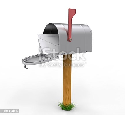 Open mailbox with envelope isolated on white background. 3D illustration. Green grass on stand