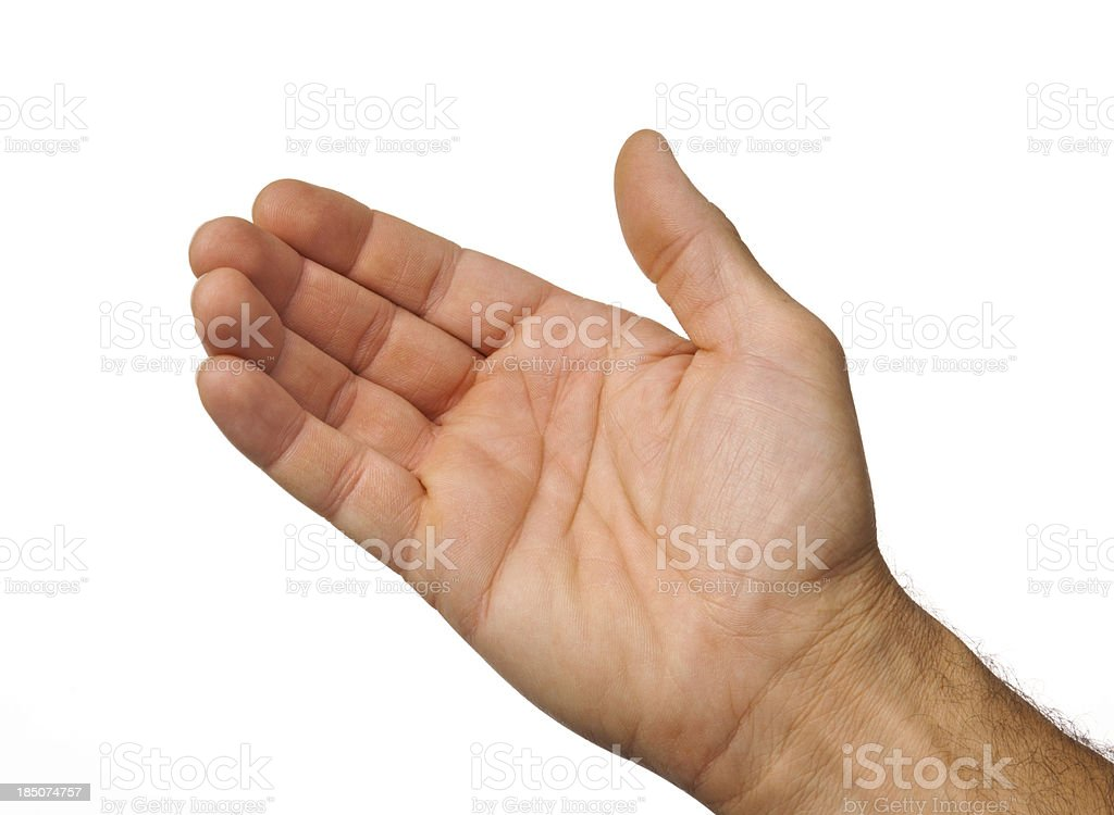 Open male hand ready to take something on white background stock photo