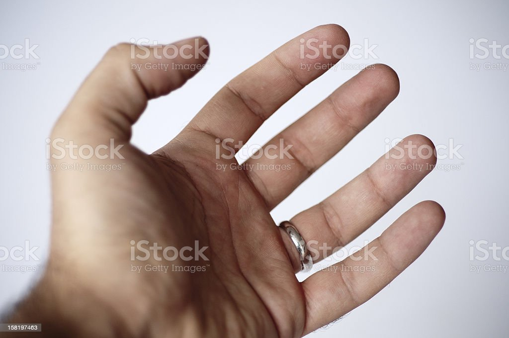 Open man hand over white background. Isolated image royalty-free stock photo