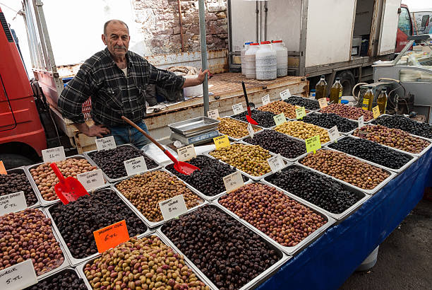 Open market in Turkey stock photo