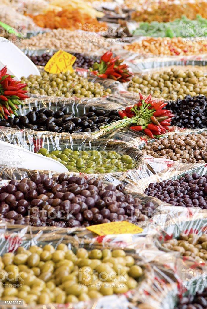 Open Market Olives royaltyfri bildbanksbilder