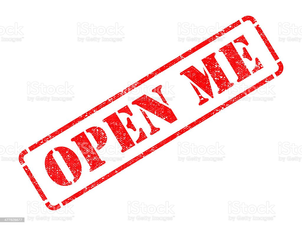 Open Me - Red Rubber Stamp. royalty-free stock photo