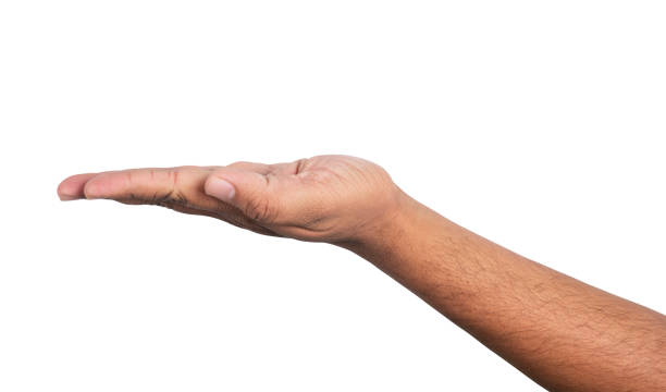 Open men hand on a white background stock photo