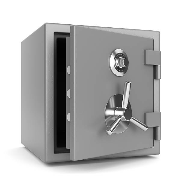 Open metal bank safe Open metal bank security safe with dial code lock isolated on white background. 3D illustration safe security equipment stock pictures, royalty-free photos & images