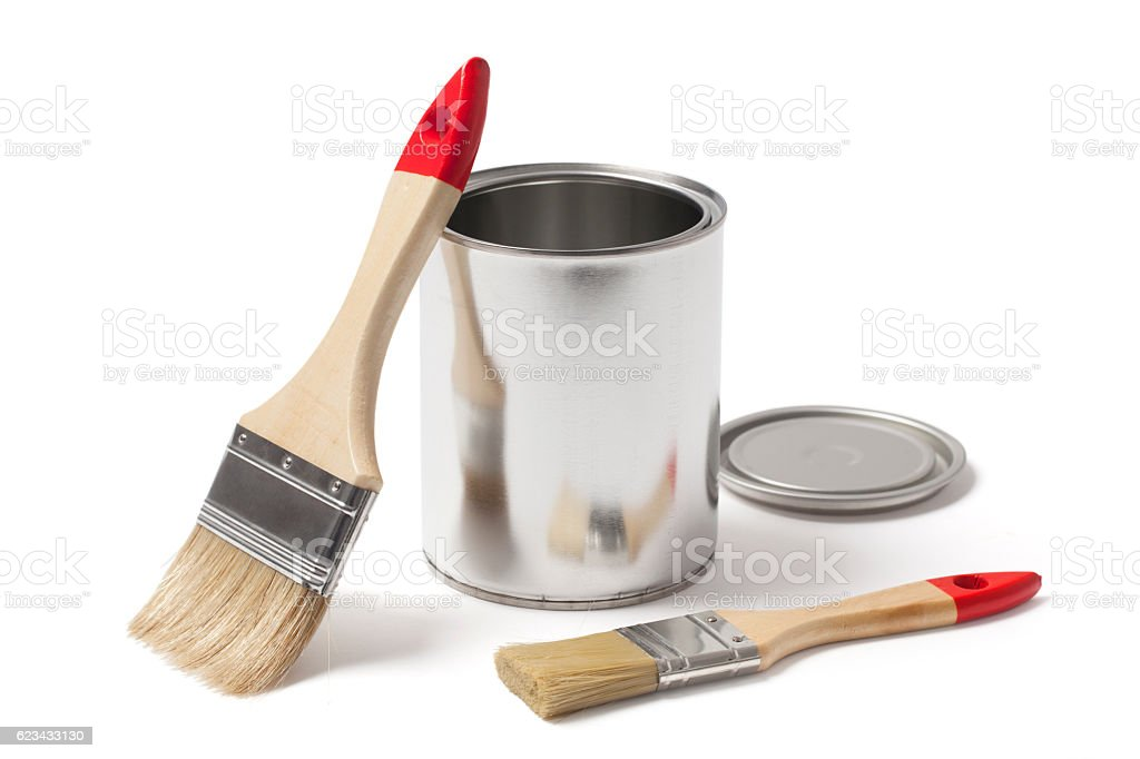 Open Metal Paint Can with New Brushes stock photo