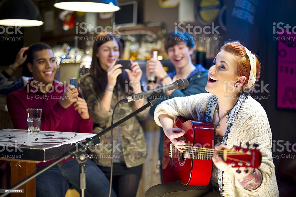 open mic night stock photo