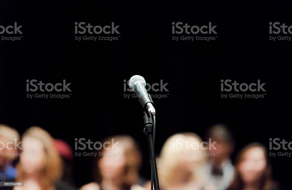Open Microphone on Stage stock photo