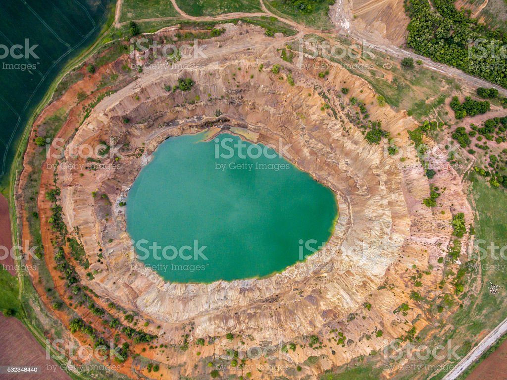 Open mine pit stock photo