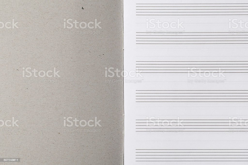 Open Musical Notebook with Staves stock photo