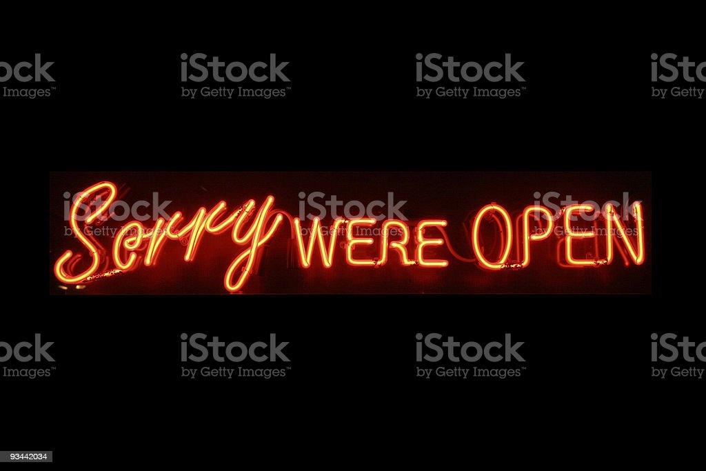 Open neon sign stock photo