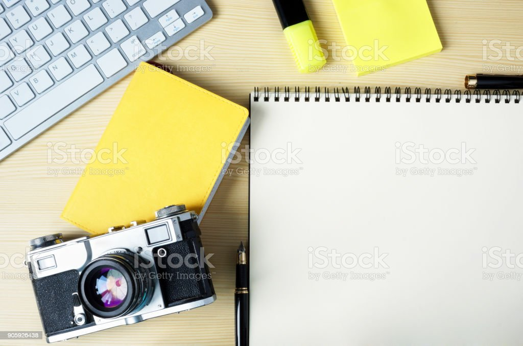 Open Note With Stickers Marker Keyboard And Camera Mockup