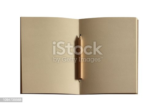 1139340462 istock photo Open notebook and pencil isolated on white background. clipping path. 1094735568