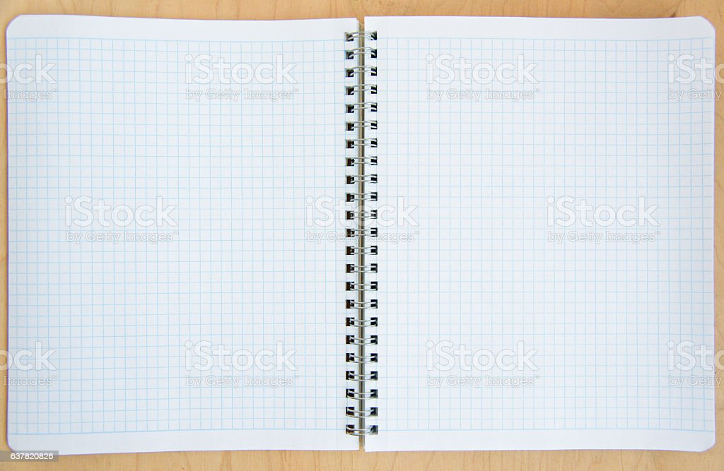 open notebook on a wooden background stock photo