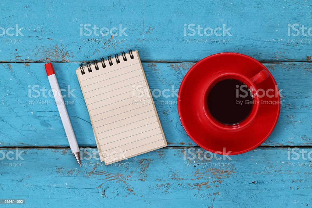 open notebook with blank pages on wooden table stock photo