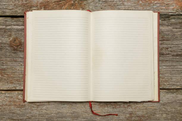 Offenen Notebook mit leere Blätter auf dem hölzernen Schreibtisch - Idee Konzept schreiben – Foto