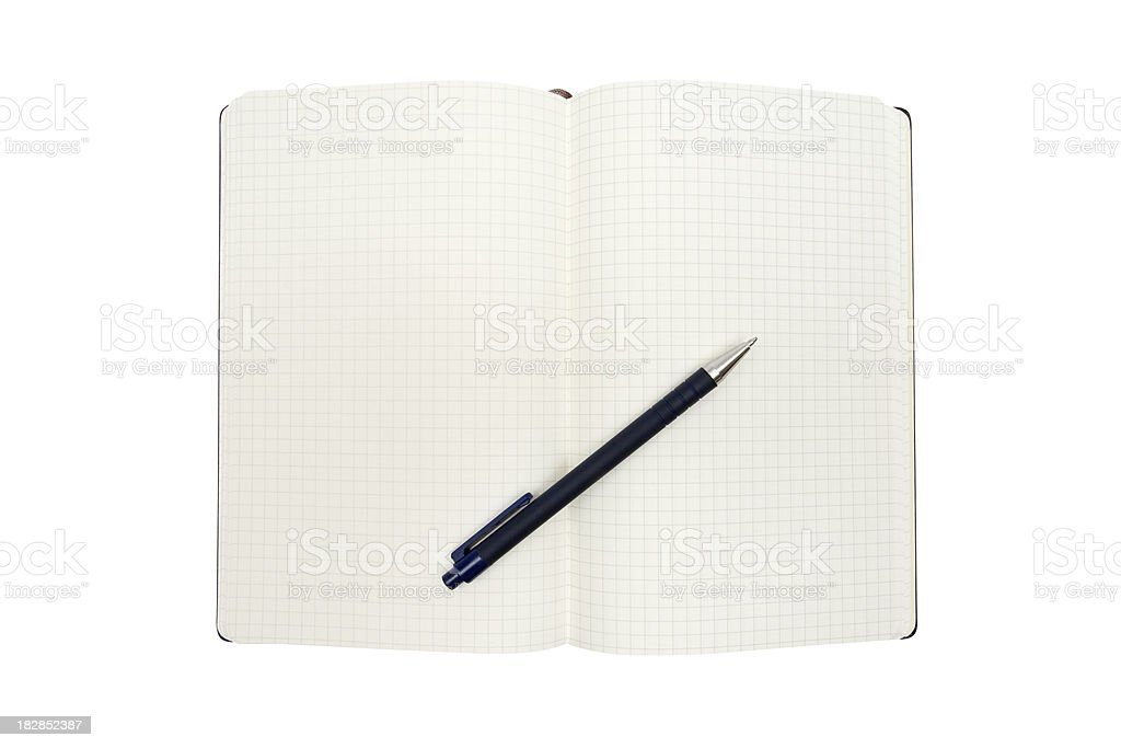 Open Notebook with Pen (Clipping Path Included) royalty-free stock photo