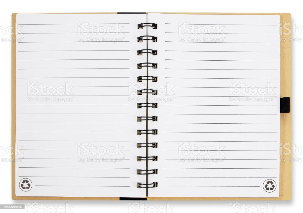Open notebook with white lined pages isolated on white background. zbiór zdjęć royalty-free