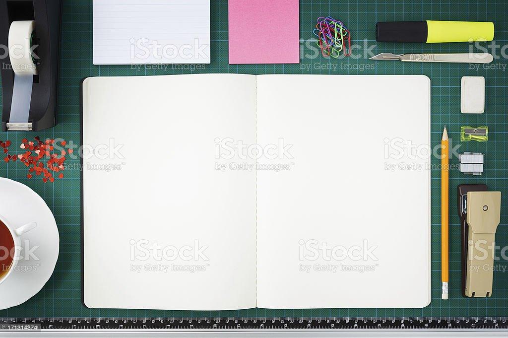Open notebook/scrapbook and paraphernilia stock photo